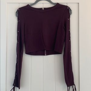 TOBI Lace-Up Sleeve Crop Top